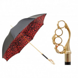 Pasotti Parasol damski  LUX 189 5A488-91 W84 - Knuckleduster Umbrella with Red Animal Print