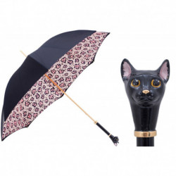 Pasotti Parasol damski  LUX 189 5G284-1 K49 - Black Cat Umbrella and Animalier Print