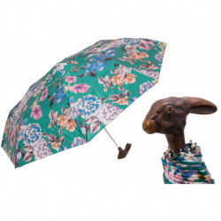 Pasotti Parasol damski  składany 257 9A436-5 113 - Folding Umbrella with Rabbit Handle and Flowered Print