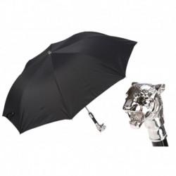 Pasotti Parasol męski  składany 64 6768-1 W35 - Silver Tiger Folding Umbrella