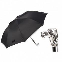 Pasotti Parasol męski  składany 64 Oxf-18 W40 - Silver Dog Folding Umbrella