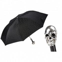 Pasotti Parasol męski  składany 64 PNT W33 - Skulls Print Silver Skull Umbrella