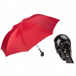 Pasotti Parasol męski  składany 64 PRT W33ne - Red Folding Umbrella with Black Skull Handle