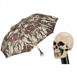 Pasotti Parasol męski  składany 64 907-1 W33os - Camouflage Skull Handle Folding Umbrella