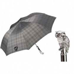 Pasotti Parasol męski  składany 64 6434-9 W44 - Silver Owl Folding Umbrella