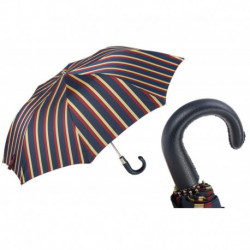Pasotti Parasol męski  składany 64 Alfred-1 P - Striped Folding Umbrella, Leather Handle