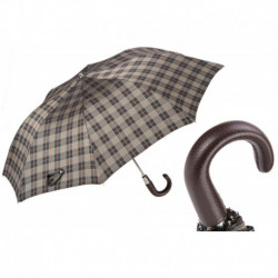Pasotti Parasol męski  składany 64 Diamond 20 P - Leather Handle Classic Folding Umbrella