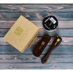 Margo 3-el. zestaw do pielęgnacji czarnego skórzanego obuwia, szczecina dzika, ekologiczne pudełko