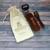 Marco Ricci mini 4-elementowy zestaw z kremem do butów ciemno brązowych w eko-woreczku