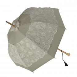 GdJ Parasol damski Sissi w kolorze ecru, przeciwdeszczowy i przeciwsłoneczny (UV), Guy de Jean