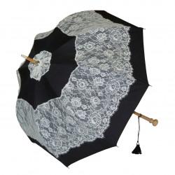 GdJ Parasol damski Sissi w kolorze czarnym, przeciwdeszczowy i przeciwsłoneczny (UV), Guy de Jean