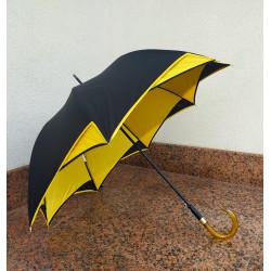 GdJ Parasol damski długi podwójny baldachim czarno-żólty, Guy de Jean
