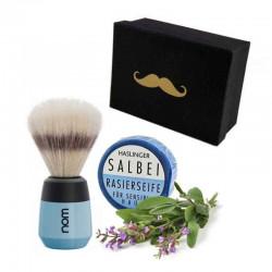 Niebieski zestaw prezentowy pędzel + mydło szałwiowe