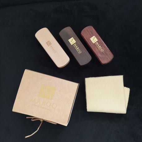 Margo, Zestaw prezentowy 4 el. w eko-pudełku (3x szczotka + ściereczka)
