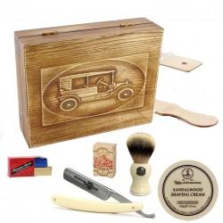 RETRO Samochód II 6-elementowy zestaw do golenia brzytwą w drewnianym pudełku, imitacja kości słoniowej