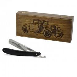 Robert Klaas, brzytwa 5/8 w drewnianym pudełku RETRO Samochód