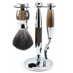 Zestaw 3-el., Gillette® Mach3® maszynka, pędzel do golenia, kolor imitacja rogu, włosie syntetyczne czarne, stojak, chromowany