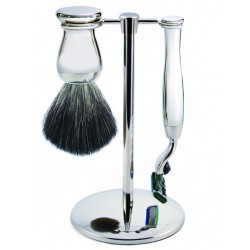 Zestaw 3-el., Gillette® Mach3® maszynka, pędzel do golenia, włosie syntetyczne czarne, stojak, chromowany