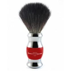Pędzel do golenia, włosie syntetyczne czarne, red, chromowany