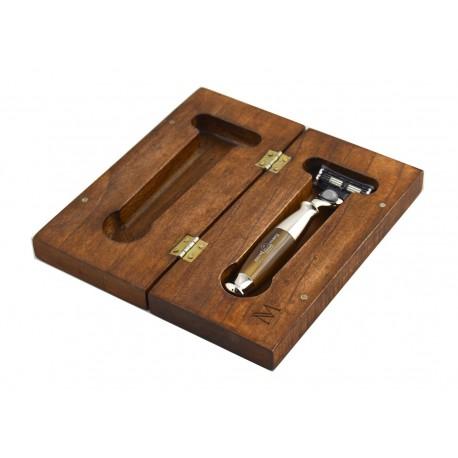 Eleganckie drewniane pudełko na maszynkę do golenia