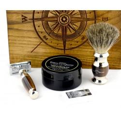 Róża wiatrów, czarny, 4-el Zestaw do golenia w drewnianym pudełku