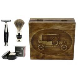 Samochód RETRO, czarny, 4-el Zestaw do golenia w drewnianym pudełku