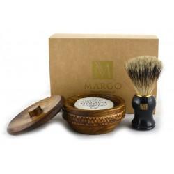 Zestaw prezentowy pędzel Super Badger  + mydło z lanoliną w drewnianym tygielku