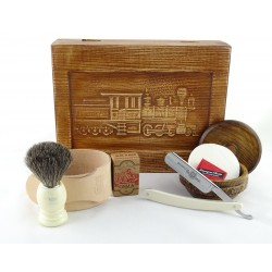 RETRO Parowóz I 7-elementowy zestaw do golenia brzytwą w drewnianym pudełku, imitacja kości słoniowej