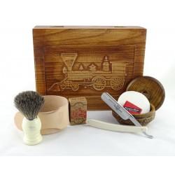 RETRO Parowóz II 7-elementowy zestaw do golenia brzytwą w drewnianym pudełku, imitacja kości słoniowej