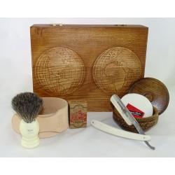 RETRO Mapa Świata 7-elementowy zestaw do golenia brzytwą w drewnianym pudełku, kość słoniowa
