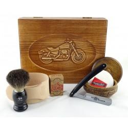 RETRO Motocykl 7-elementowy zestaw do golenia brzytwą w drewnianym pudełku, czarny