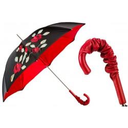 PASOTTI Parasol Damski EXCLUSIVE SPANISH FEEL, luksusowy, skórzana czerwona rączka, kwiatowe aplikacje, podwójny baldachim