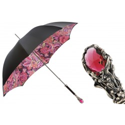 PASOTTI Parasol Damski LUXURY RED GEM, luksusowy, podwójny baldachim, kryształ Swarovskiego