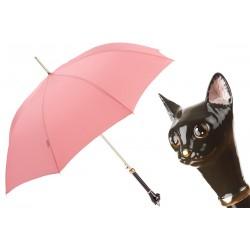 PASOTTI Różowy Parasol Damski LUXURY CAT, luksusowy, emaliowana mosiężna rączka w kształcie głowy kota