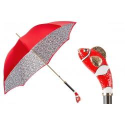 PASOTTI Czerwony Parasol Damski RED NEMO, luksusowy, emaliowana mosiężna rączka NEMO, podwójny baldachim
