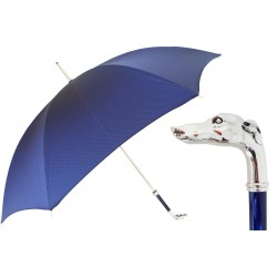 Parasol Pasotti  Blue, Silver Greyhound Handle, 478 Oxf-8 W39PB