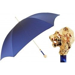 Parasol Pasotti  Blue with Gold Lion Handle, 479 Oxf-8 W37PB