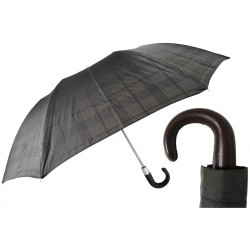 Parasol Pasotti Brown Check with Leather Handle, 64 6434-15 P
