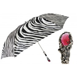 Parasol Pasotti Zebra Print Luxury, Red Gem Handle, 64 21028-55 W68