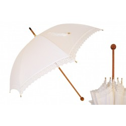 Parasol Pasotti Manual Opening White Lace, Rainproof, 38 Ivory