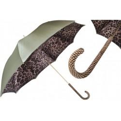 Parasol Pasotti Leopard Print Olive Green, podwójny materiał, 189 90115-5 A22