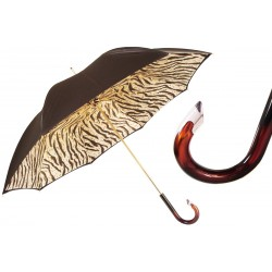 Parasol Pasotti Brown with Tiger-Striped Interior, podwójny materiał, 189 1409-61 G15