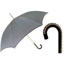 Parasol Pasotti Pied de Poule, Studded Leather Handle, 16 1408-20 H20
