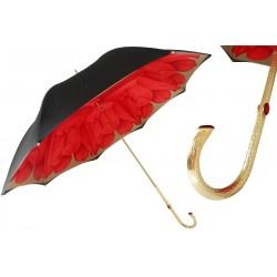 Parasol Pasotti Red Dahlia with Black Exterior, podwójny materiał, 189 21065-21 P5