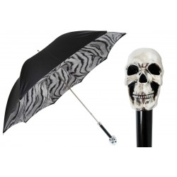 Parasol Pasotti Black and White Animalier with Silver Skull Handle, podwójny materiał, 189N 57894-10 W33