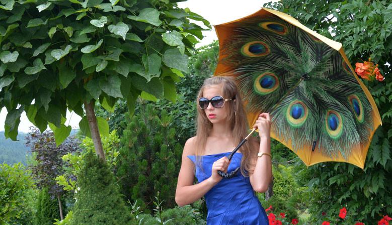 Parasolka damska Złoty Paw, motyw zwierzęcy, IL MARCHESATO, długa