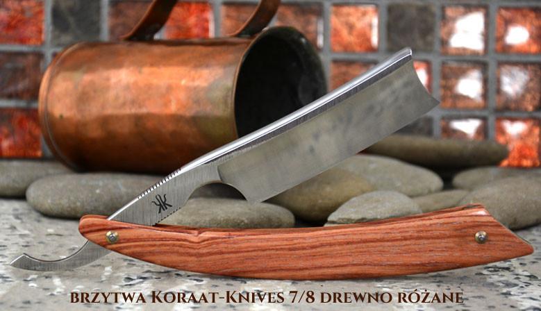 Brzytwa Koraat-Knives 7/8 drewno różane, wklęsłość near wedge